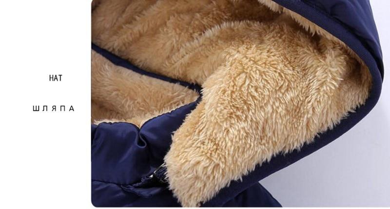 COOTELILI Fleece Winter Parkas Kids Jackets For Girls Boys Warm Thick Velvet Children's Coat Baby Outerwear Infant Overcoat (12)