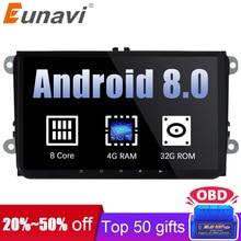 Eunavi 2 din 9 »Android 8,0 Octa Core радио автомобиль стерео gps для VW Passat B6 CC поло гольф 5, 6 Touran Jetta Tiguan Magotan сиденье