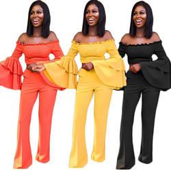 Для женщин нерегулярные оборками Длинные рукав «фонарик» с открытыми плечами укороченный топ Штаны комплект из 2 предметов для женщин Для