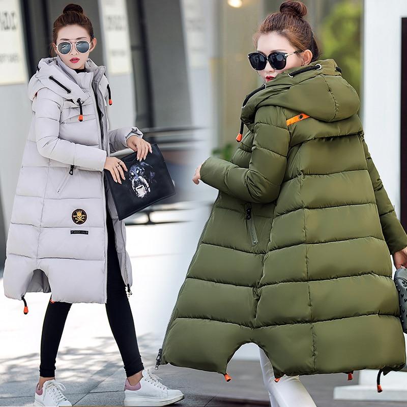 2016 Winter Korean Thickening Overknee Slim Thin Even Hat Long Fund Down Cotton Woman Loose warm Coat 886680