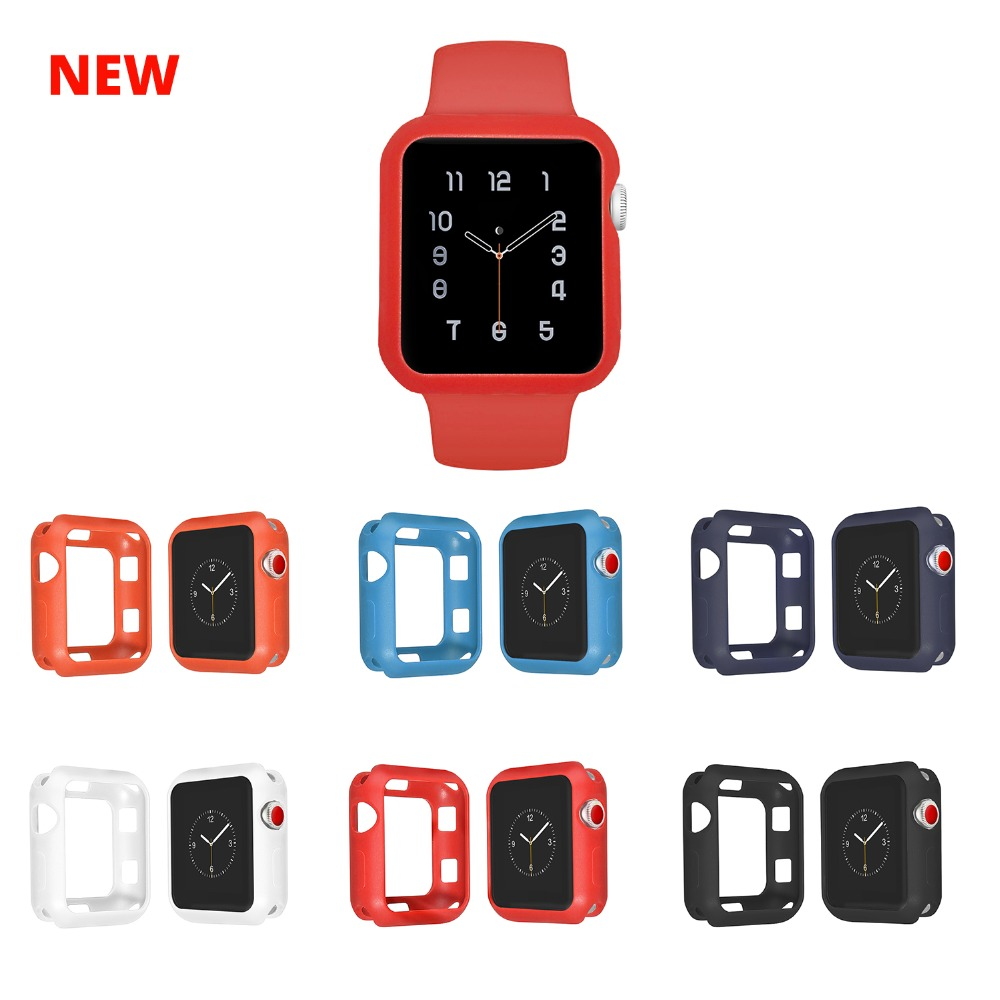 New Silicone Case For Apple Watch 42mm Series 3 2 1 38mm Watch Case For Iwatch 42mm Apple Watch Band Case Full Protection series 1 2 3 soft silicone case for apple watch cover 38mm 42mm fashion plated tpu protective cover for iwatch