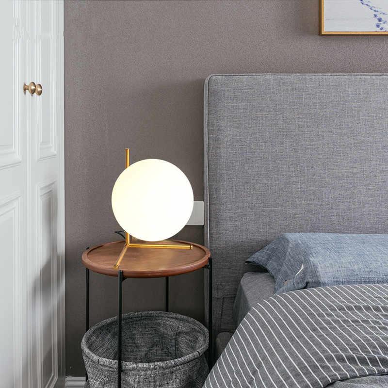 Современная, в виде стекляного шара настольная лампа скандинавский светодиодный Настольный абажур для лампы стеклянный шар стоящая лампа свет для спальни гостиной светильники