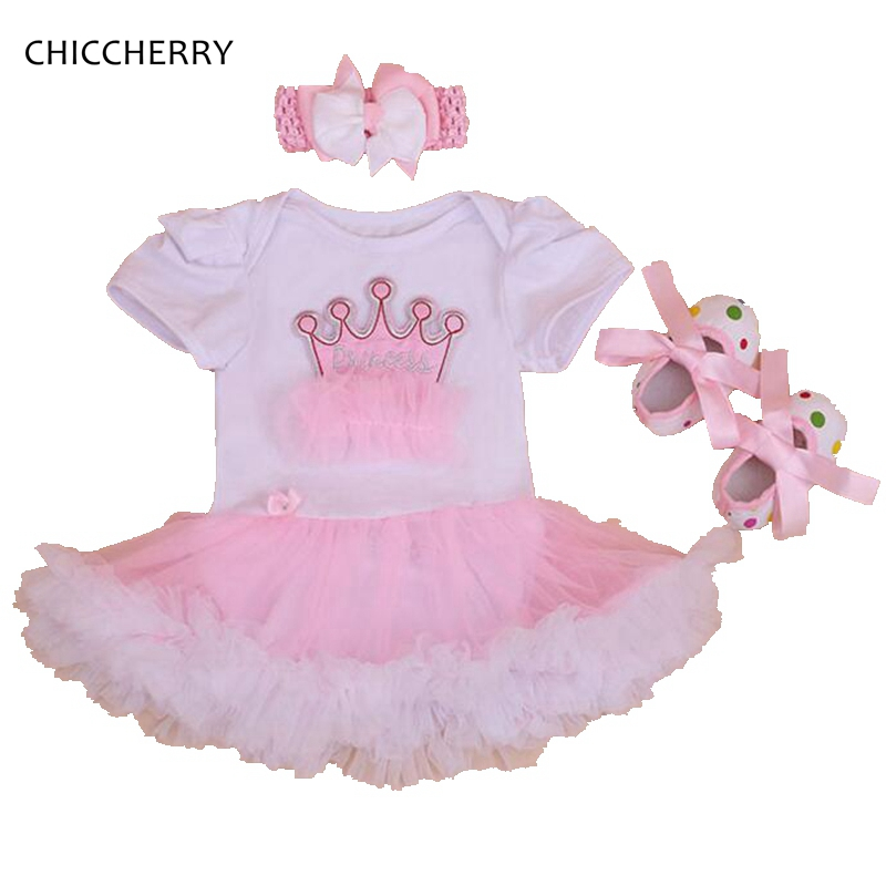 Princess Crown 3PCS Baby Girl Summer Clothing Sets Toddler Birthday Outfits Romper Dress Crib Shoes Headband Newborn Clothing