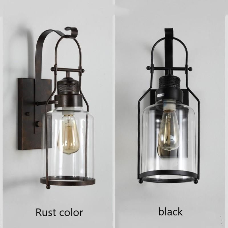 Loft industriel Vintage lampes murales rétro fer applique pour salon Bar salle de bain chambre chevet lampes verre mur LED lumières - 2