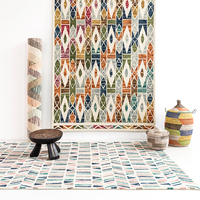 Wool kilim Floral carpets Cover handmade turkish geometric Geometric patterns wool knitting carpets