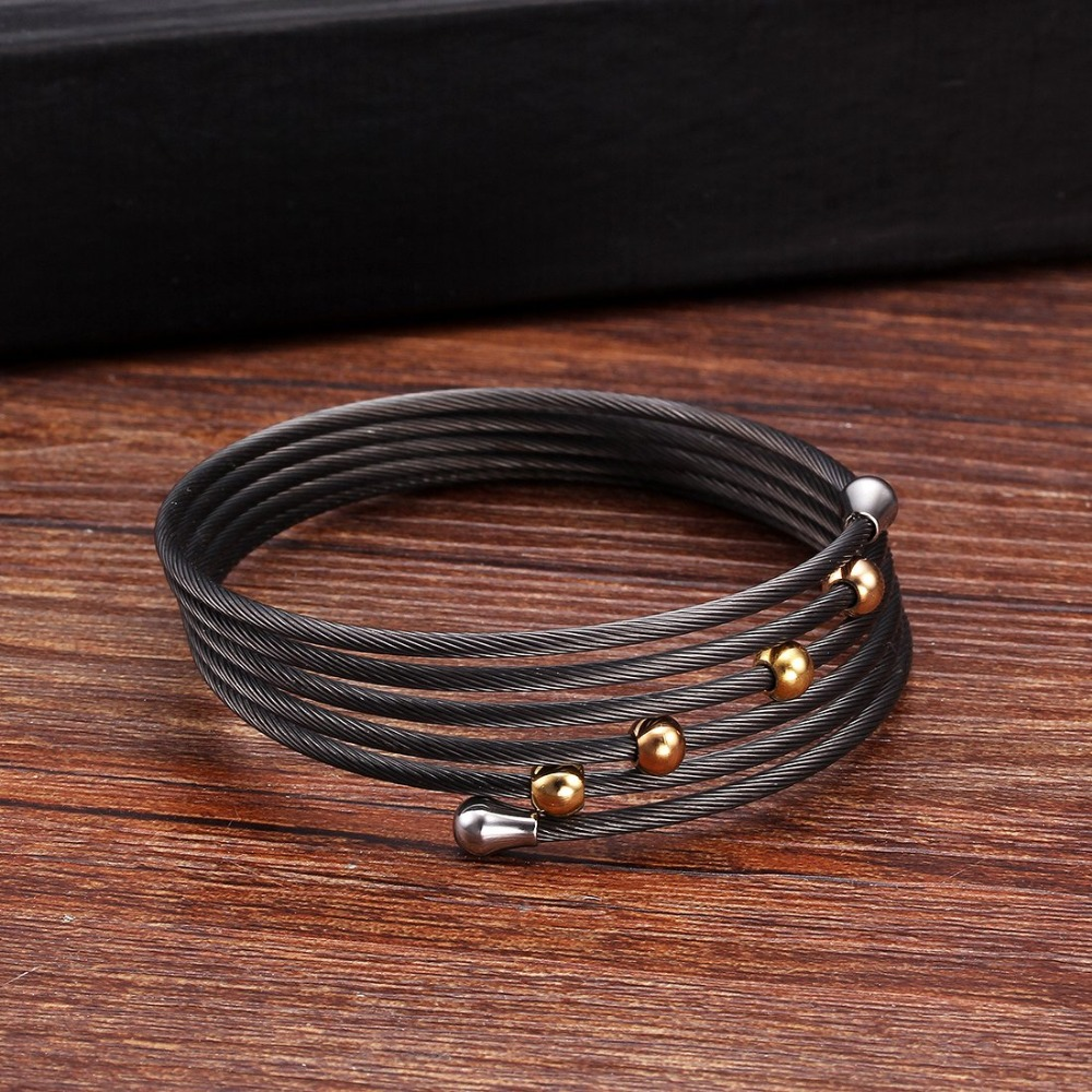 Unique Design Multilayer Stainless Steel Charm Bracelets High Quality Black Cuff Wrap Bracelet For Men Women Jewelry