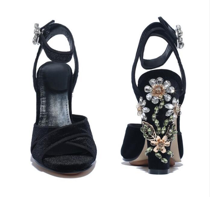 Negro Abierta Con Mujeres Tacones Suede 2017 Falsas Piedras Tobillo Concise Strap Mujer Toe Zapatos Verano Diamantes Sequined Sandalias Altos Z580 qBw8H5xa8