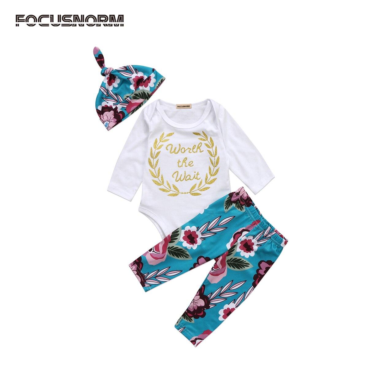 0-18 м новорожденных ползунки Топы Корректирующие + брюки с цветочным принтом + милые Комплект одежды с шапочкой одежда для малышей мальчиков ...