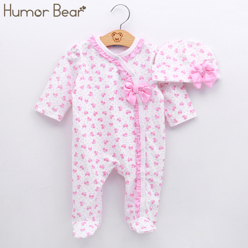 Humor Bear Baby Clothing Christma Baby Girl Clothes Bow Romper Clothing Set Jumpsuit Hat 2PC Cute Infant Girls Rompers Baby suit mother nest 3sets lot wholesale autumn toddle girl long sleeve baby clothing one piece boys baby pajamas infant clothes rompers