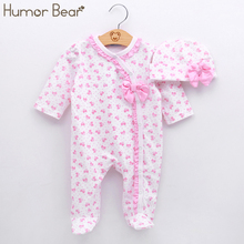 Humor Bear Baby Clothing Christma Baby Girl Clothes Bow Romper Clothing Set Jumpsuit Hat 2PC Cute Infant Girls Rompers Baby suit