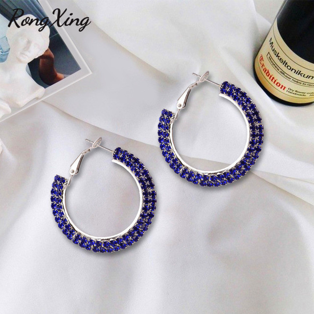 RongXing Vintage Red Blue White Rainbow Zircon Round Hoop Earrings For Women Silver Color Circle Earrings.jpg 640x640 - RongXing Vintage Red/Blue/White/Rainbow Zircon Round Hoop Earrings For Women Silver Color Circle Earrings Ladies Party Jewelry