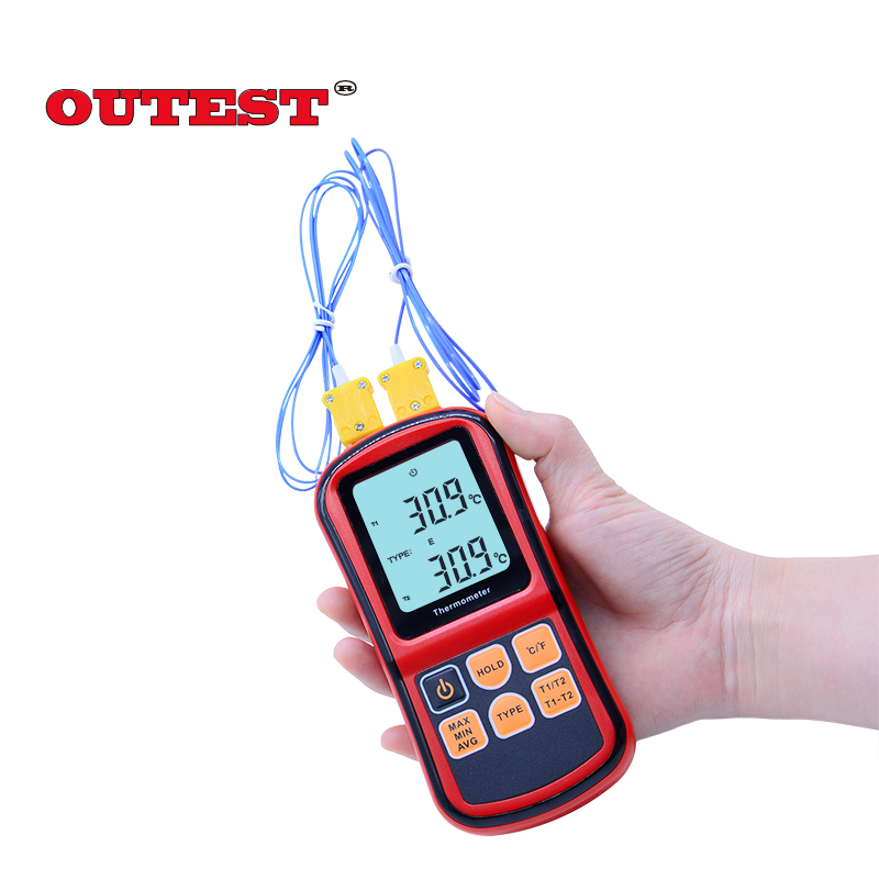 цены  OUTEST GM1312 -50~300C Thermocouple Thermometer Dual-channel Digital Temperature Meter For K/J/T/E/R/S/N LCD Termometro