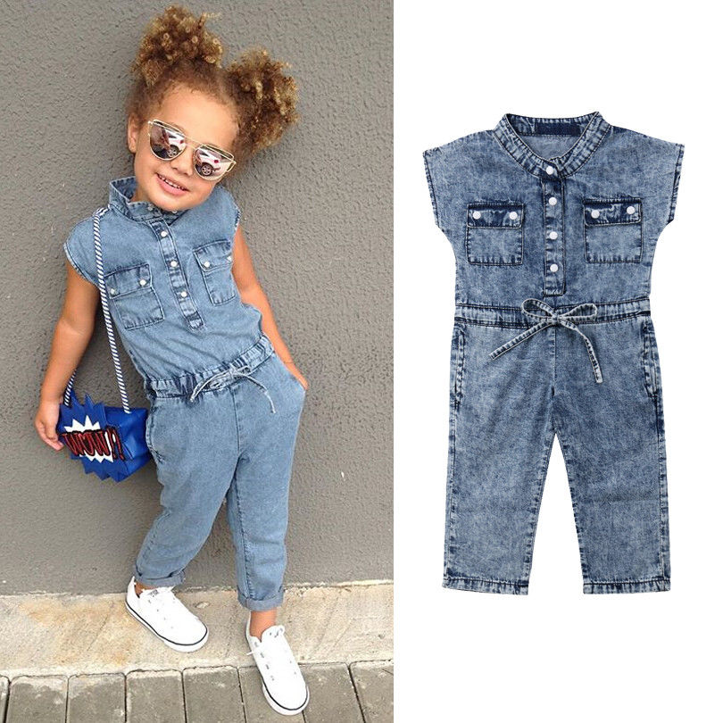 Summer Toddler Kids Baby Girl Clothes Denim Sleeveless Romper Jumpsuit Playsuit Long Pants Outfits 1-6T