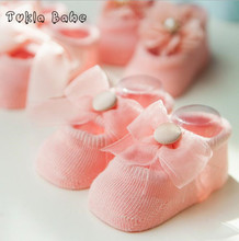 3Pairs/Lot Baby socks spring and summer thin new cotton baby cotton lace flowers bow anti-slip children's floor socks