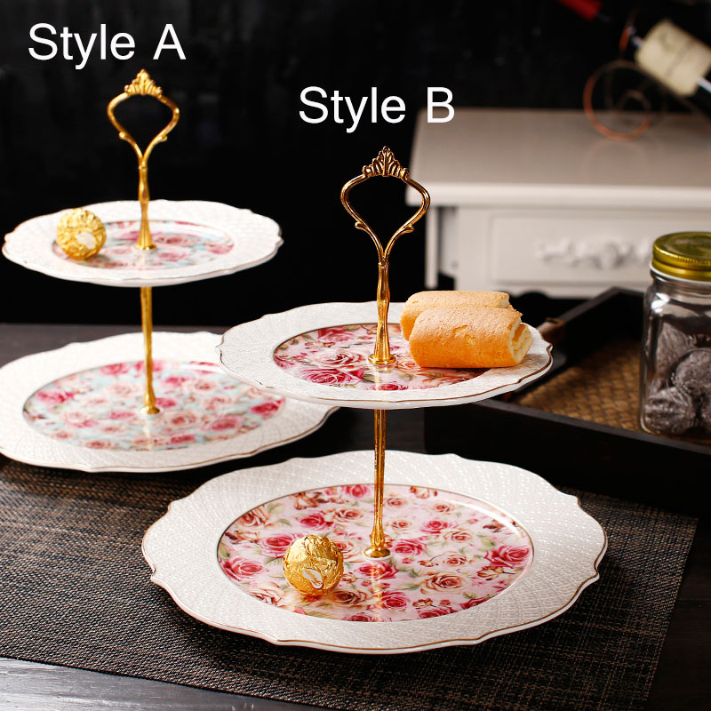 Afternoon Tea And Dessert Creative High Grade Fruit Plate European Ceramic Cake Stand Wedding New Year Gift Double Tray-in Dishes u0026 Plates from Home ... & Afternoon Tea And Dessert Creative High Grade Fruit Plate European ...