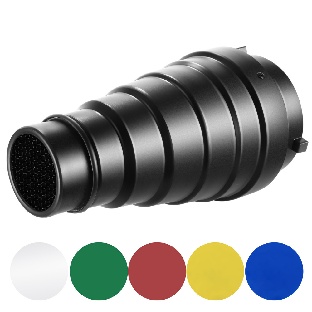 Neewer Medium Aluminium Alloy Conical Snoot Kit With Honeycomb Grid And 5 Pieces Color Gel Filters For Bowens Mount Studio