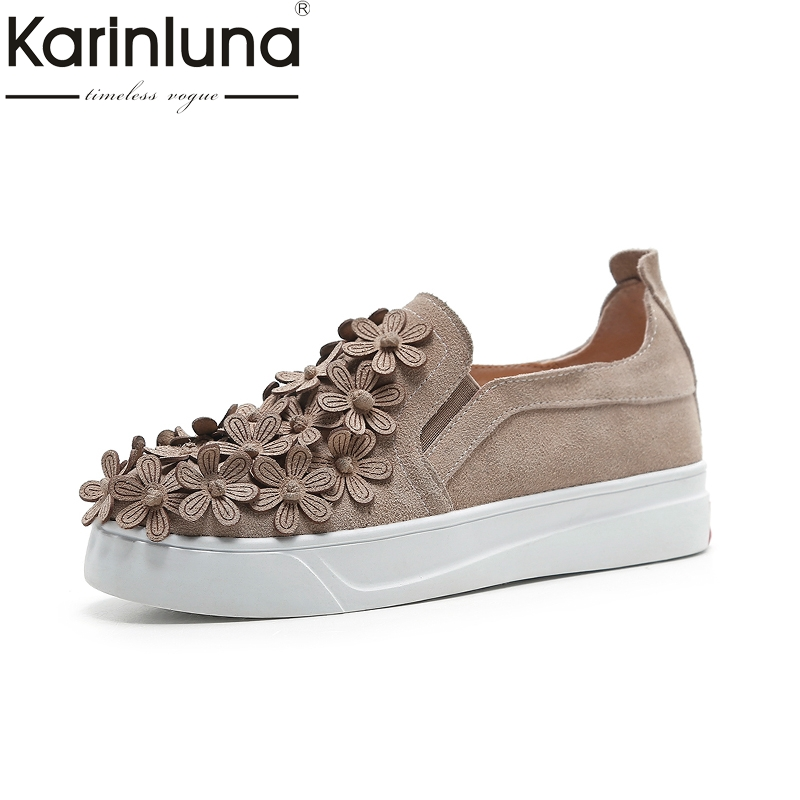 Karinluna 2018 Size 33-40 Cow Suede Leather Spring Flowers Flats Shoes Woman Slip On Casual Loafers Women Shoes Footwear e toy word winter flock loafers casual slip on warm women shoes soft flats suede platform shoes woman size 35 40 xwd4157