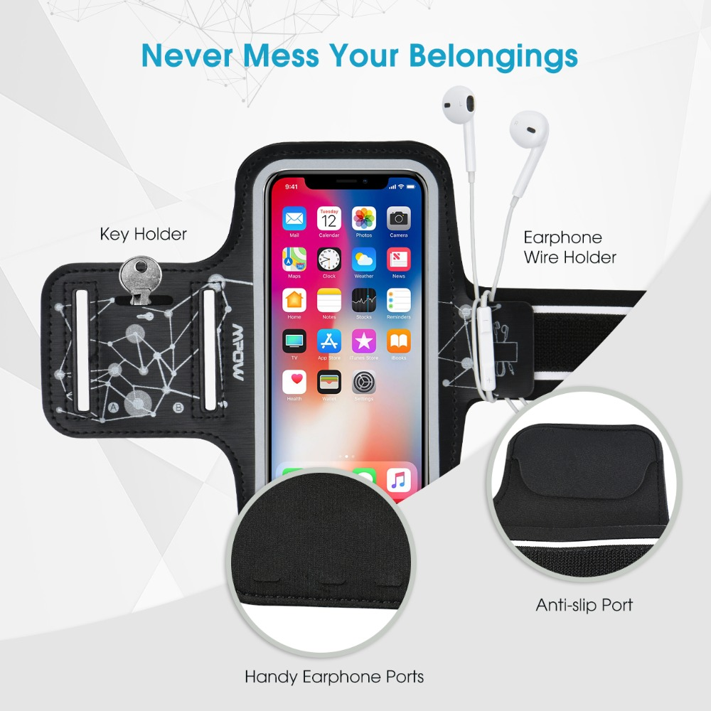 Mpow Running Armband for iPhone X//8//7//6s up to 5.1 Armband with Key and Headphone Slots