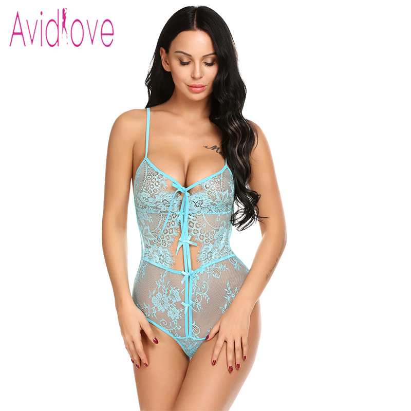 Avidlove 2018 New Lace Lingerie Sexy Hot Erotic Underwar Women Spaghetti Strap Cut Out Backless Bodysuit Porn Sex Costume