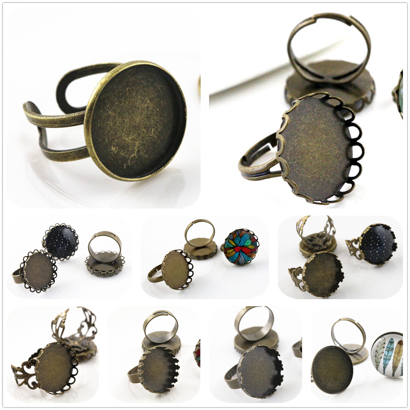 20mm 5pcs/Lot 8 Style Bronze Plated Brass Adjustable Ring Settings Blank/Base,Fit 20mm Glass Cabochons,Buttons;Ring Bezels 18x25mm 5pcs light silver and bronze plated brass drop adjustable ring settings blank base fit 18x25mm glass cabochons