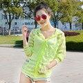 Женская летняя полоса защиты от солнца одеждой Девушки длинный абзац костюм пальто УФ-козырек от солнца
