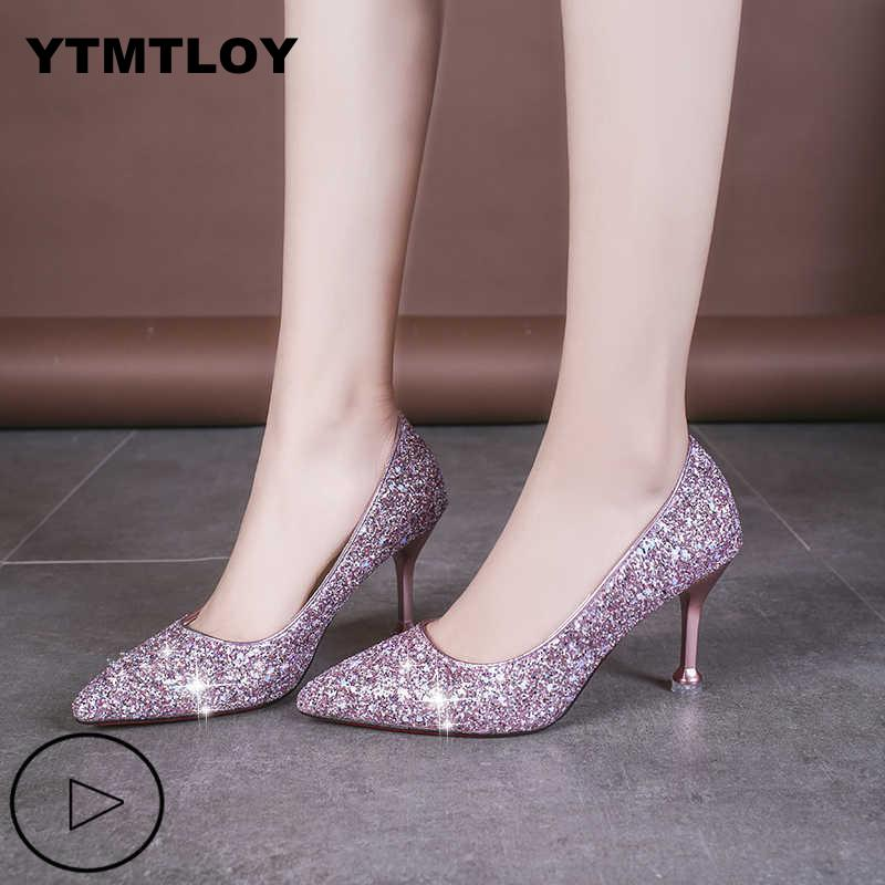 Plus Size 33-41 Sequins Pointed Toe Shoes Women Pumps Woman Luxury Bling High Heels Female Ladies Sexy Party Wedding Gold Heel
