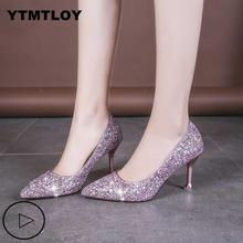 Plus Size 33-41 Sequins Pointed Toe Shoes Women Pumps Woman Luxury Bling High He