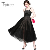 Trytree Summer Elegant Casual Tank Dress Lace Women Strapless A line Dot Mesh Three layers Hem Black dresses High Street Dress