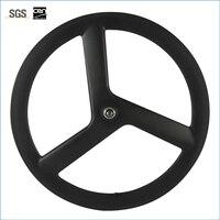 Hot sale T700c tri spoke carbon wheelset 56mm clincher carbon wheel for road bike 3 spoke wheel