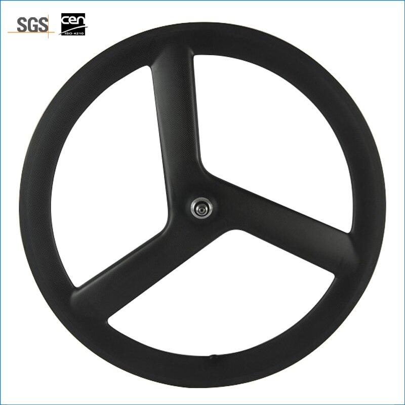 Горячая распродажа T700c три говорил углерода колеса 56 мм довод углерода колеса для дорожного велосипеда 3 спицевый