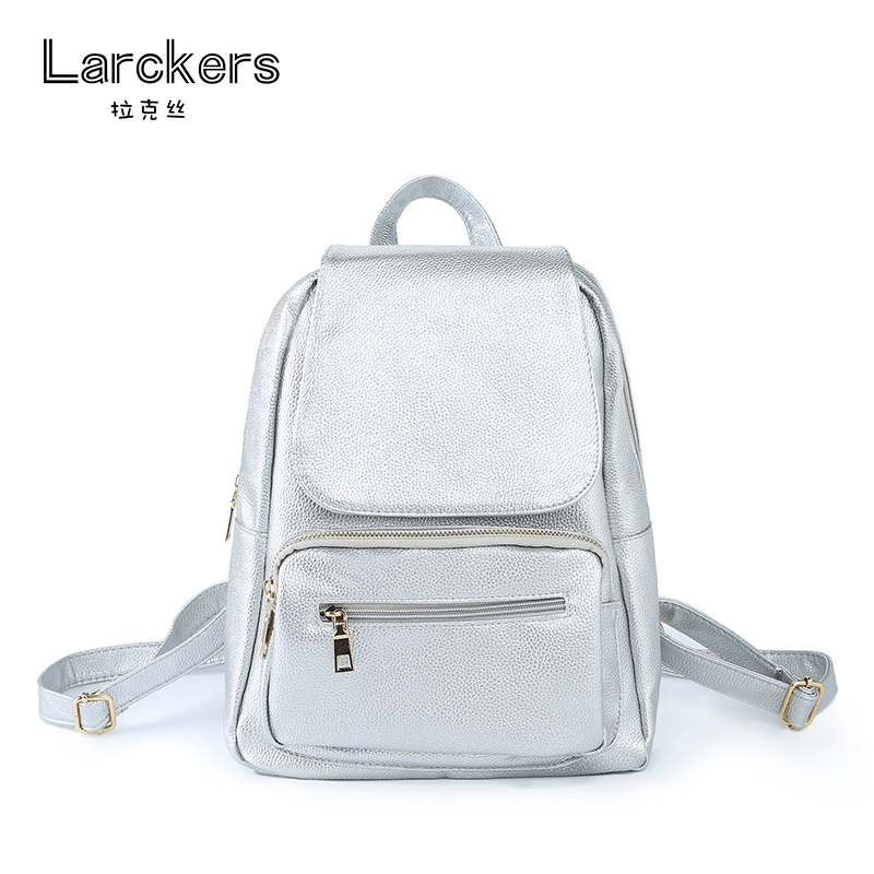 Larckers Brand Hot Sale Simple Fashion Pu Women Backpack Silver Metal Color Solid Casual Bag Women