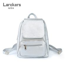 Larckers Brand Hot Sale Simple Fashion Pu Women Backpack Silver Metal Color Solid Casual Bag Women Satchel Portable backpack
