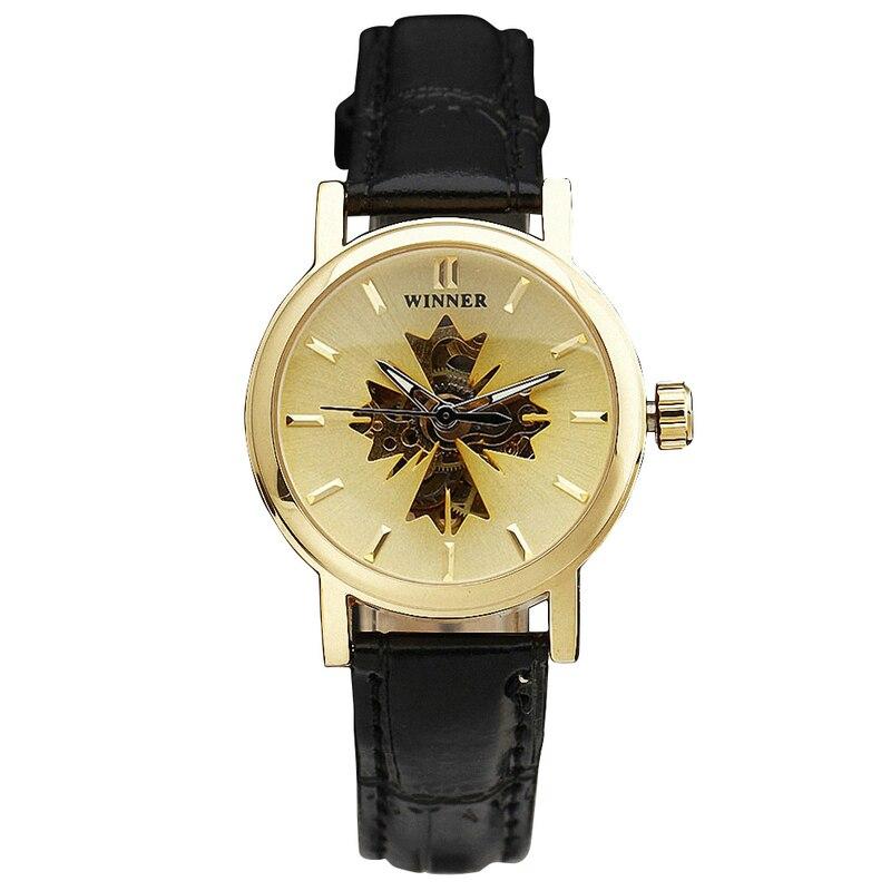 WINNER Ladies Watches Women Mechancial Wristwatch Leather Strap Skeleton Automatic self wind Maple Leaf Luxury Brand