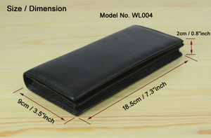 Image 2 - Factory Price Cowhide Genuine leather Mens wallet long clutch Bag Genuine Leather wallet Purse Coin Bag Money Clip Black WL004