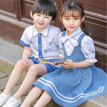 цена на Kindergarten summer children's class clothing national wind primary school uniforms Hanfu summer graduation clothing suit