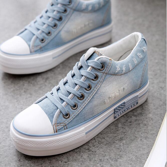 2016 spring and summer denim shoes vulcanized shoes increased within the new female thick bottom canvas