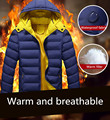2016 winter new European and American men's coat thicker Slim Down padded jacket solid color hooded zipper jacket