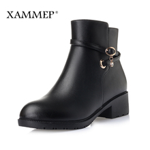 XAMMEP Brand Women Shoes Winter Ankle Boots Women Winter Shoes Plus Big Size 35-43 Genuine Split Leather Boots With Platform