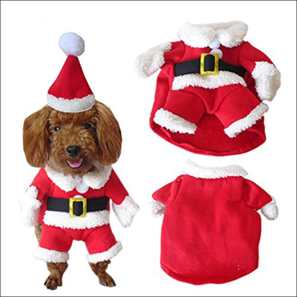 Small Dogs Cats Funny Puppy Christmas Party Clothes Pet Christmas Costume Dog Suit with Cap Santa Claus Coat Hoodies Hogard