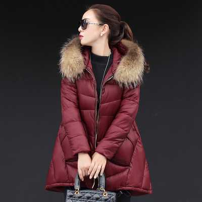 2016 New Winter Jacket Women Fashion Down Cotton Jacket Long Sleeve Slim Large Fur Collar Hooded Winter Coat Women Parka A3903