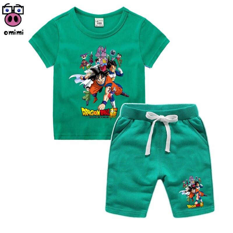 Kid's 3D Anime Dragon Ball Z Group Clothes Girl Cartoon Clothing Set Children Son Goku T-shirt Shorts Toddler Boy Clothing Set