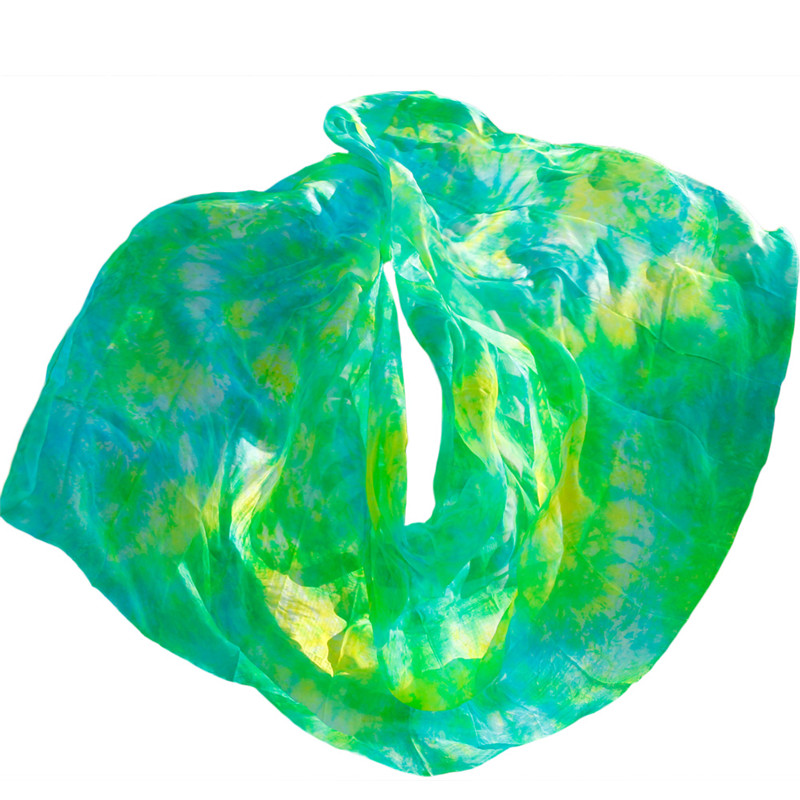 2019 High Quality Design Of 100% Silk Belly Dance The Group Dance Mix Color Tie-dye Bellydance Veil Mix Color Can Be Customized