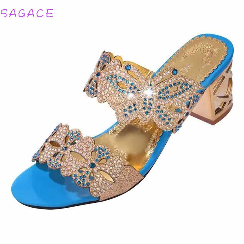 SAGACE 2018 夏オープントゥチャンキー女性のサンダル革ラインストーンパーティーの靴のファッションクリスタルカジュアルなビーチフリップは
