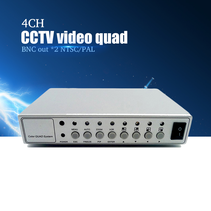 YiiSPO 4CH Color Video Digital Color Quad Splitter Processor CCTV System Kit Switcher Metal Case with 4in 2out BNC adapter yiispo 4ch car video digital color quad splitter processor cctv system 4in 2out reversing image processor
