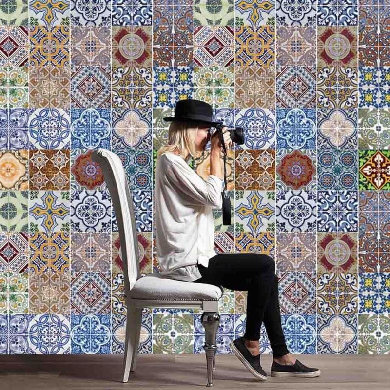 Arab Style Tile Stickers <font><b>Kitchen</b></font> Wall Sticker Waterproof PVC Wall Paper Home Decoration Mosaic Wall Tiles Stickers Waist Line 3