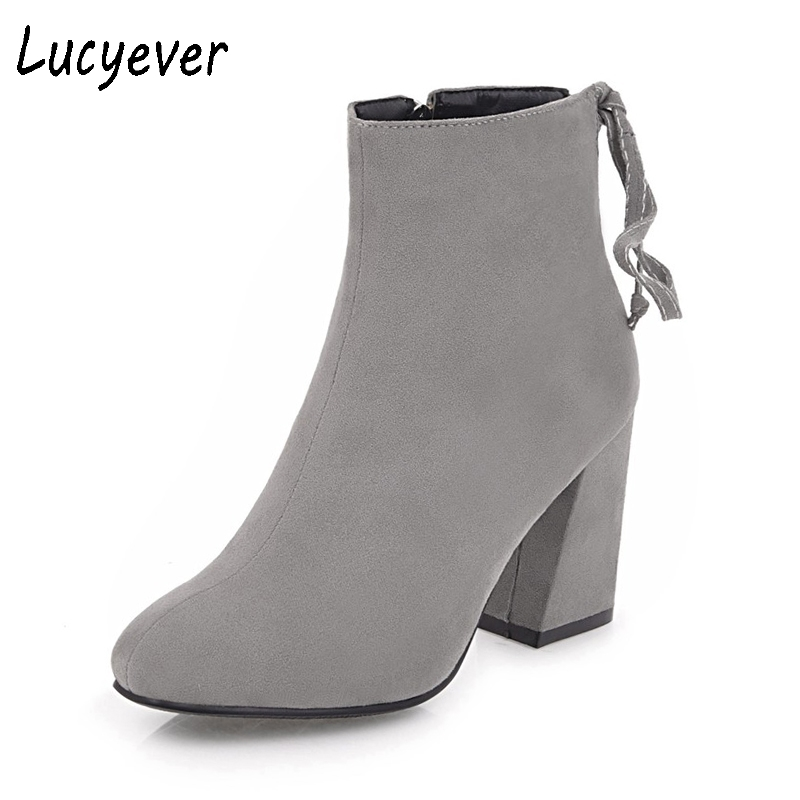 Lucyever 2018 New Spring Autumn Women Flock Leather Shoes Woman Vintage Square High Heels Ankle Boots Western Party Booties lucyever women vintage square toe flat summer sandals flock buckle casual shoes comfort ankle strap women footwear mujer zapatos