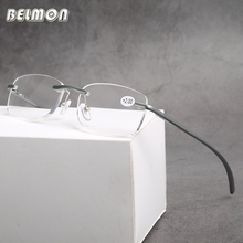 Belmon Rimless Reading Glasses Men Women AL-MG Frame Diopter Glasses Male Presbyopic Eyeglasses +1.0+1.5+2.0+2.5+3.0 RS610