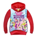 Baby Girls Hoodies Sweatshirts 2016 New Arrival Red My Kids Little Pony Shirts Long Sleeve Tops Autumn Clothing For 3-9 Yrs GT42