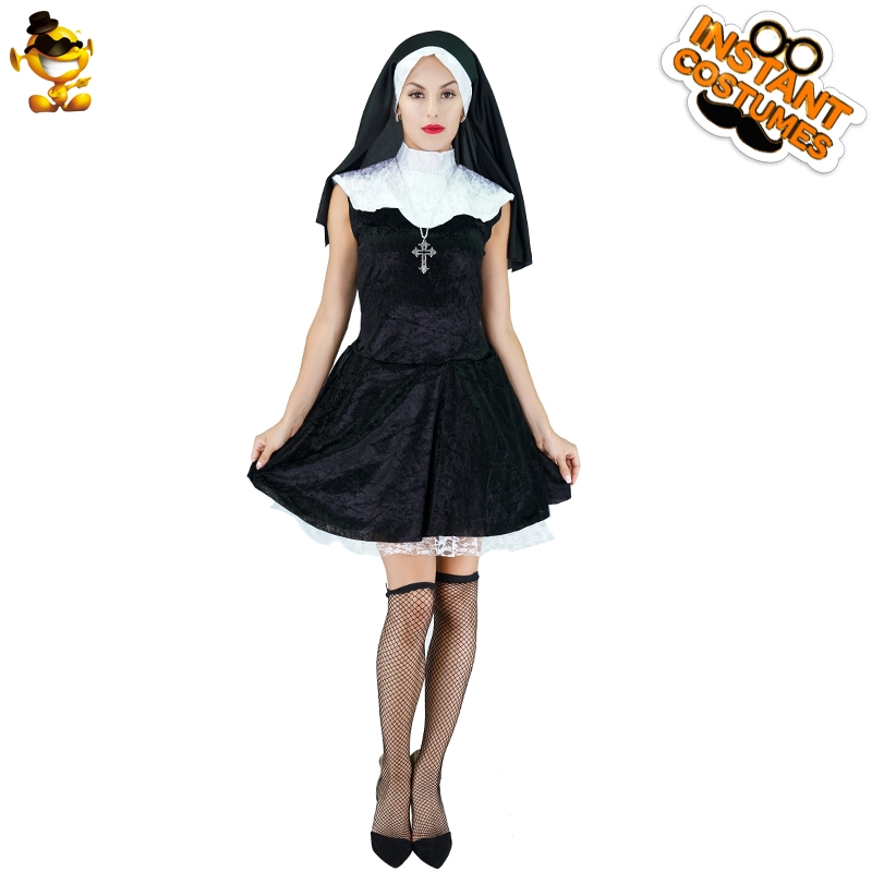 DSPLAY <font><b>Sexy</b></font> Woman <font><b>Naughty</b></font> Nun Party Costume Roleplay Sister Fancy <font><b>Dress</b></font> Carnival Cosplay Mary Newly Design Lady Career Suits image