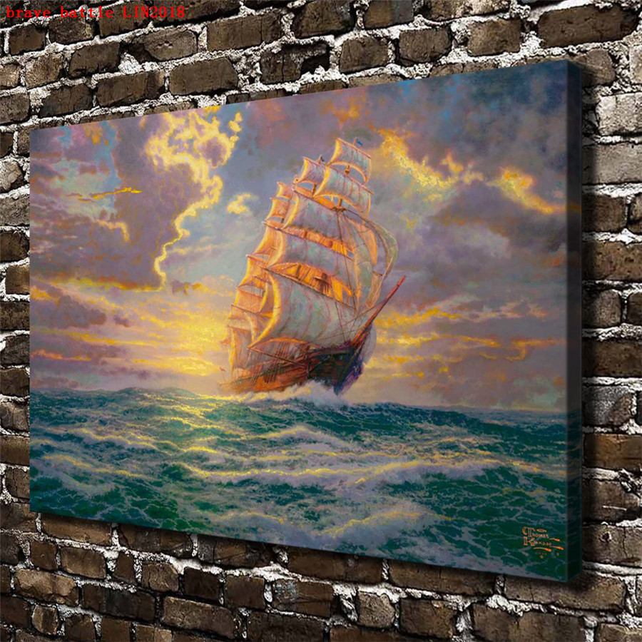 Thomas kinkade courageous voyage canvas painting print - Home interiors thomas kinkade prints ...